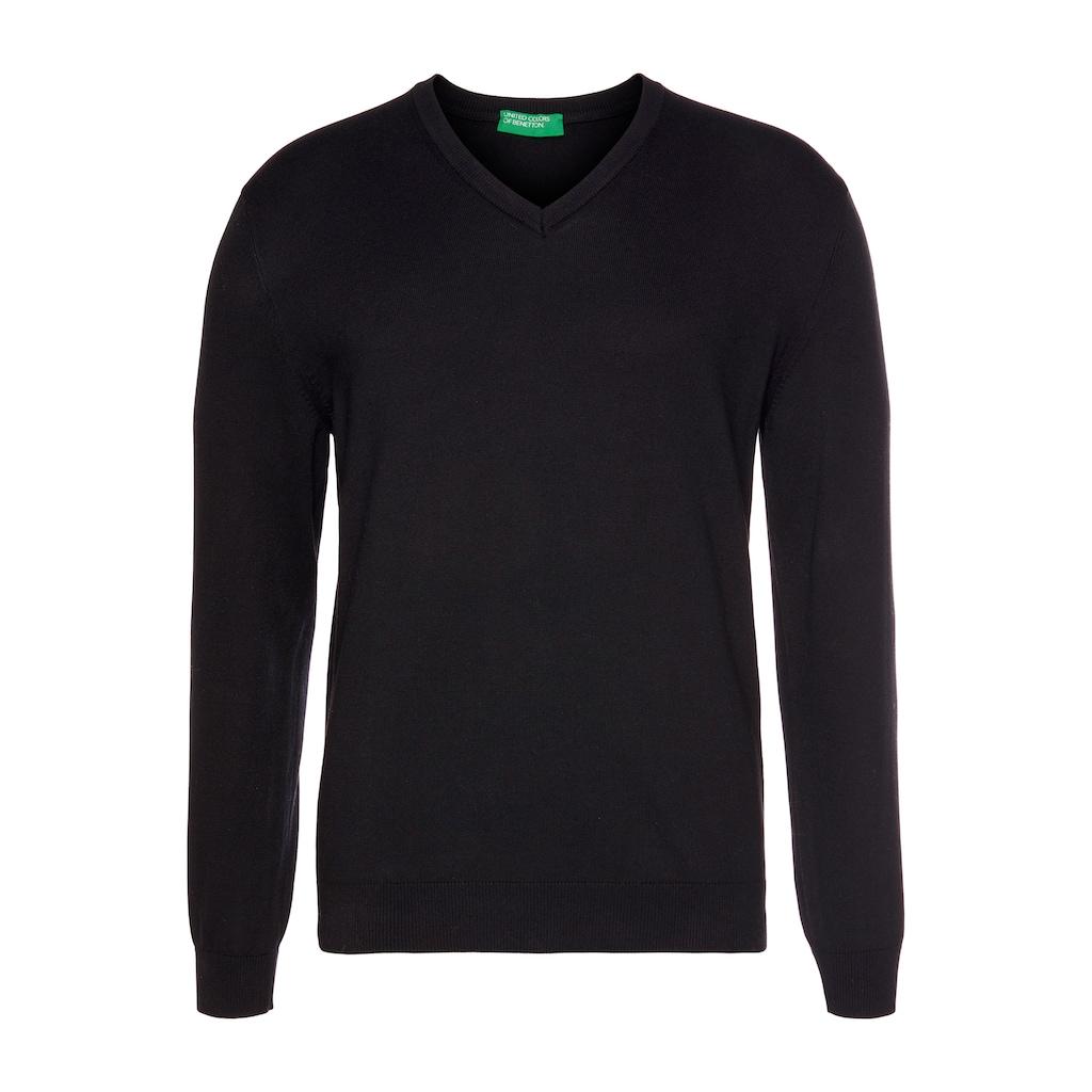 United Colors of Benetton V-Ausschnitt-Pullover, unifarben