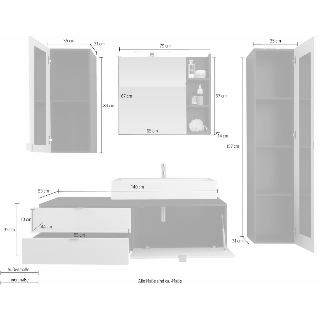 trendteam Badmöbel-Set »Beach«, (Set, 4 St.), mit Aufsatzwaschbecken