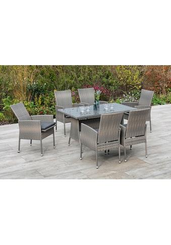 MERXX Gartenmöbelset »Sevilla«, (7 tlg.), 6 Sessel mit Siztkissen, Tisch, steinbeige kaufen