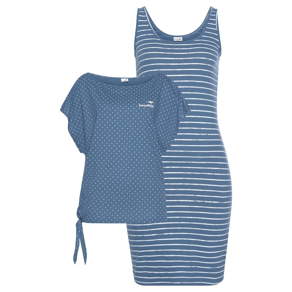 KangaROOS Jerseykleid, (2 tlg.), im Set mit oversize Shirt zum Knoten - NEUE KOLLEKTION