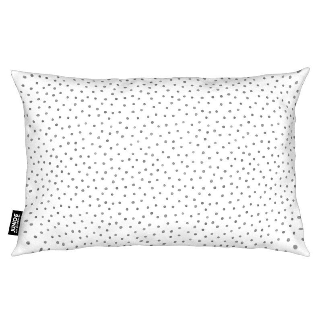 Juniqe Dekokissen »Grey Watercolor Dots«, Weiches, allergikerfreundliches Material