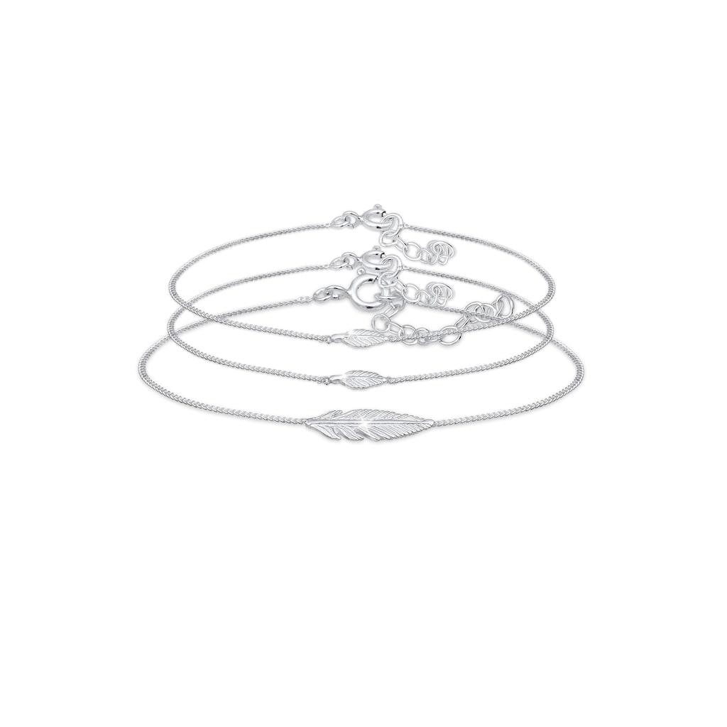 Elli Armband Set »Feder Mutter Kind Panzerkette 3 teilig 925 Silber«