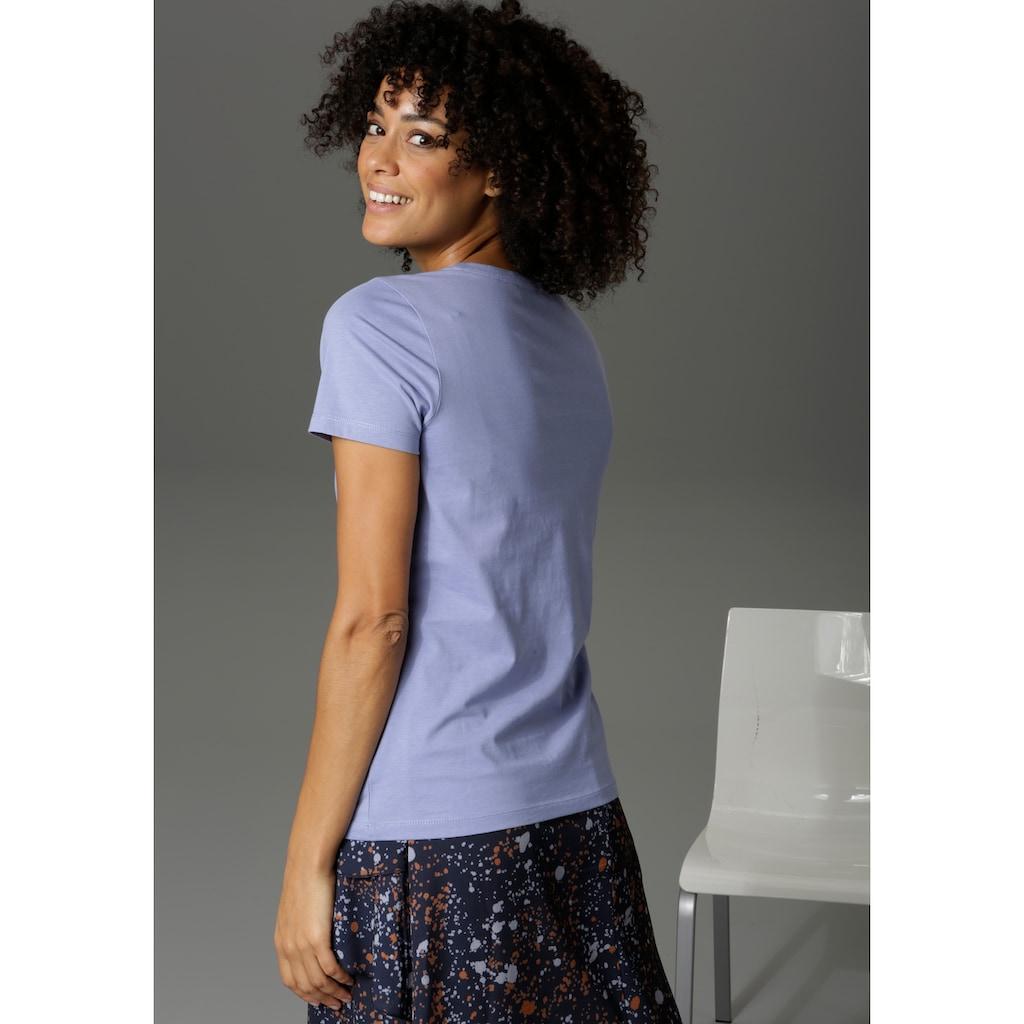 Aniston CASUAL Print-Shirt, mit Statement-Schriftzug - NEUE KOLLEKTION