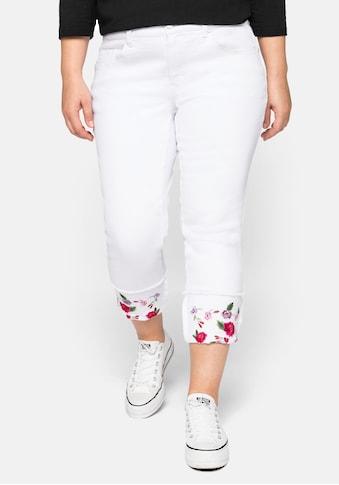 sheego by Joe Browns Stretch-Jeans, mit fixiertem Aufschlag und Blütenstickerei kaufen