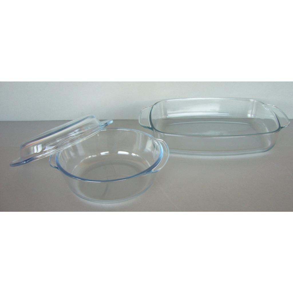van Well Auflaufform, Glas, (3 St.), feuerfestes Glas, 1,7 u. 2,3 Liter