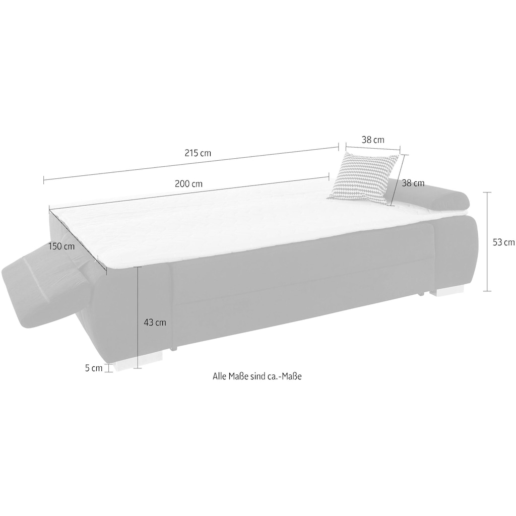 COLLECTION AB Schlafsofa, mit Boxspring-Aufbau, Bettfunktion und Bettkasten, inklusive Federkern, frei im Raum stellbar, mit Topper und praktischer Seitentasche für Utensilien