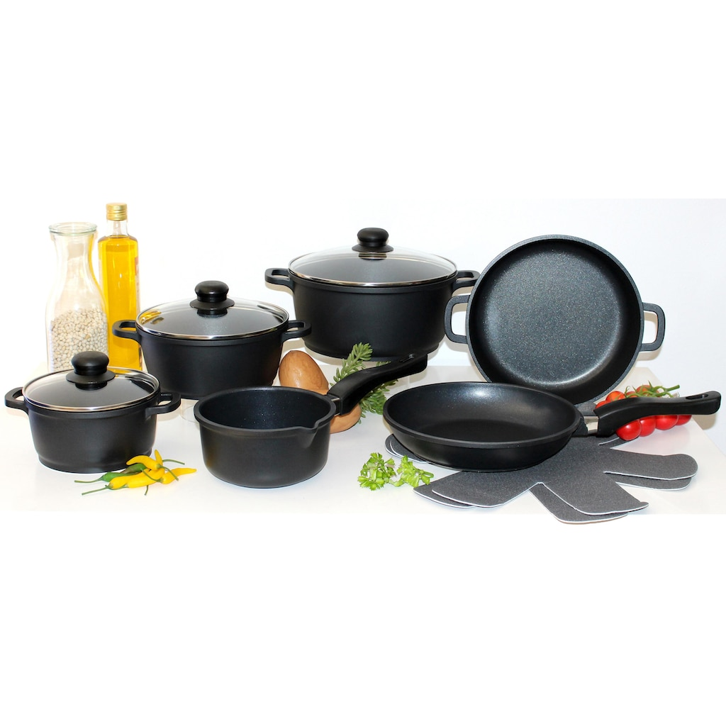Elo - Meine Küche Topf-Set, Aluminiumguss, (Set, 10 tlg., 4 Töpfe, 3, Deckel, 2 Pfannen, 1 Paar Pfannenschoner)