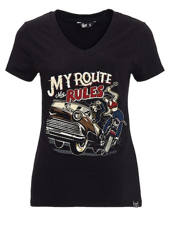 QueenKerosin T-Shirt »My Route My Rules«, mit V-Ausschnitt und Print im Retro-Stil kaufen