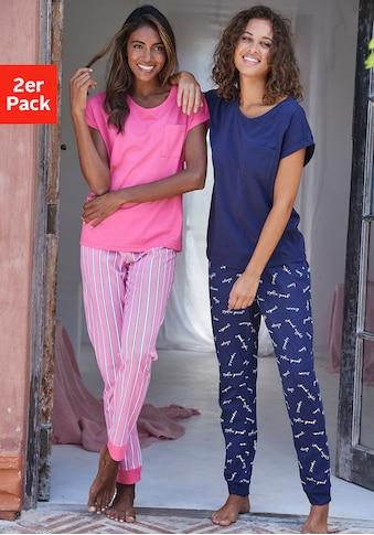 Vivance Dreams Pyjama, mit Streifen- und Schriftdruck kaufen