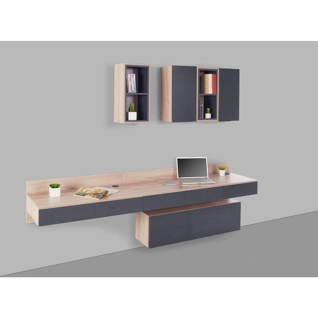 INOSIGN Wohnwand »Layland«, (Set, 7 St., bestehend aus 2 offenen Hängeregalen, 2 geschlossenen Hängeregalen und zwei Schreibtisch, 7 Schubkästen, 1 Hängeschrank), bestehend aus 7 verschiedenen Möbelstücken, mit schönem foliertem Holz, mit vielen Stauraummöglichkeiten