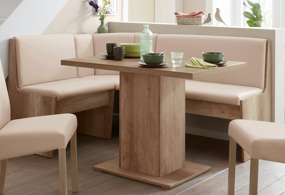 Holz Eckbank mit beigem Bezug