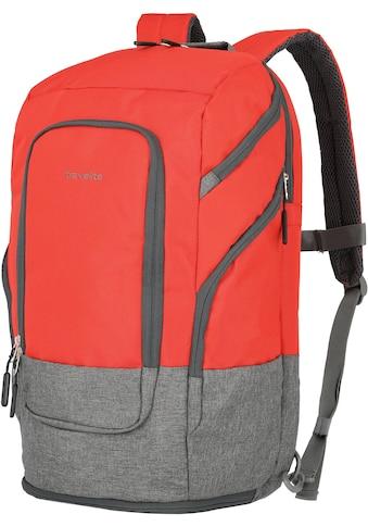 travelite Laptoprucksack »Basics L, 48 cm, rot«, Trolley-Aufsteck-System kaufen
