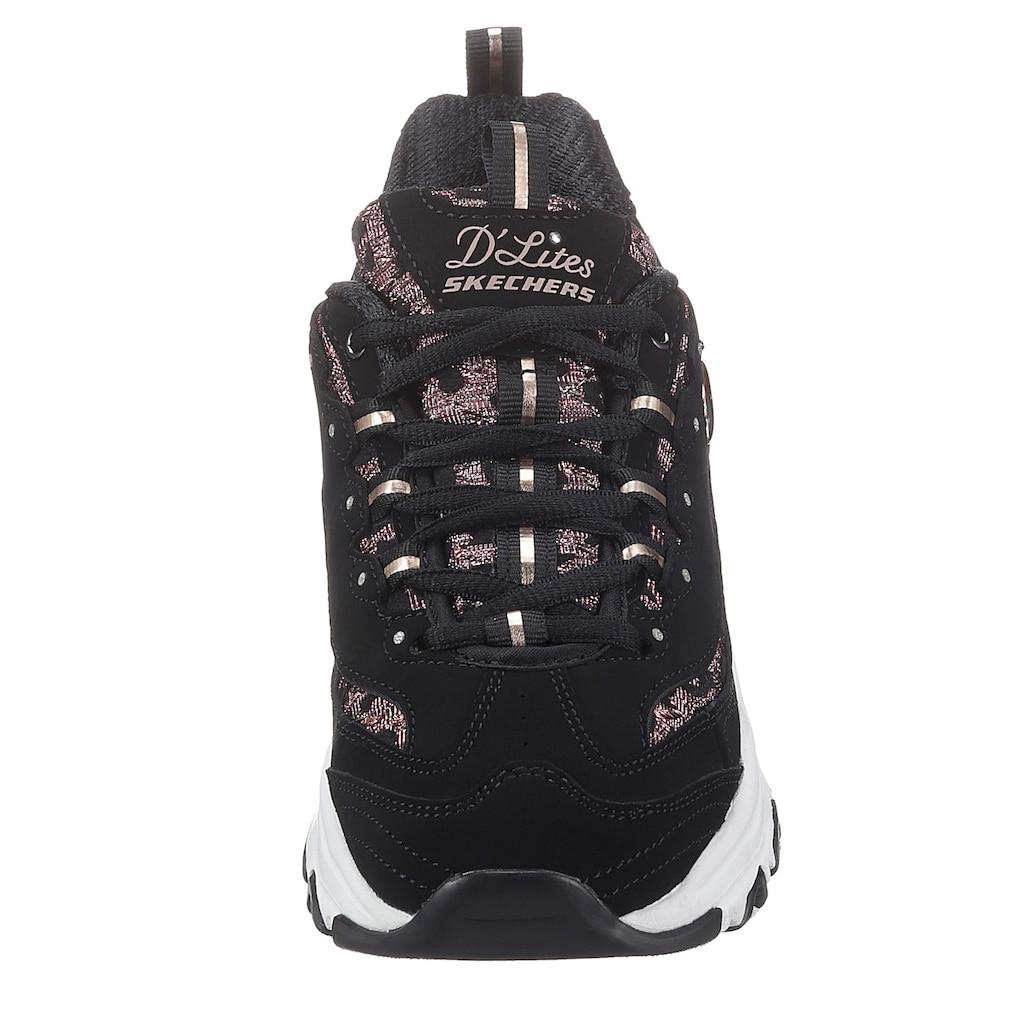 Skechers Sneaker »D´LITES - FANCY LEOPARD«, mit modischem Glitzerbesatz