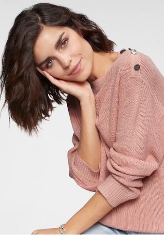 Tamaris Rundhalspullover, mit Knopfdetail kaufen