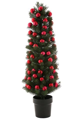 Künstlicher Weihnachtsbaum, im Topf, mit roten Kugeln kaufen