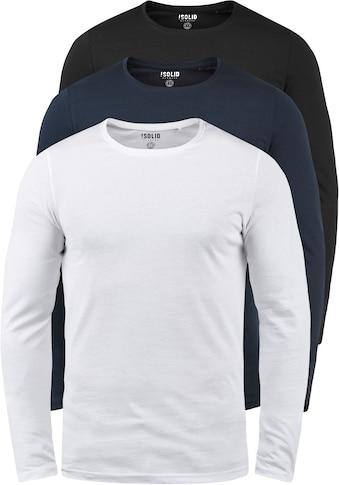 Solid Rundhalsshirt »Basal«, Langarmshirts 3er-Pack kaufen