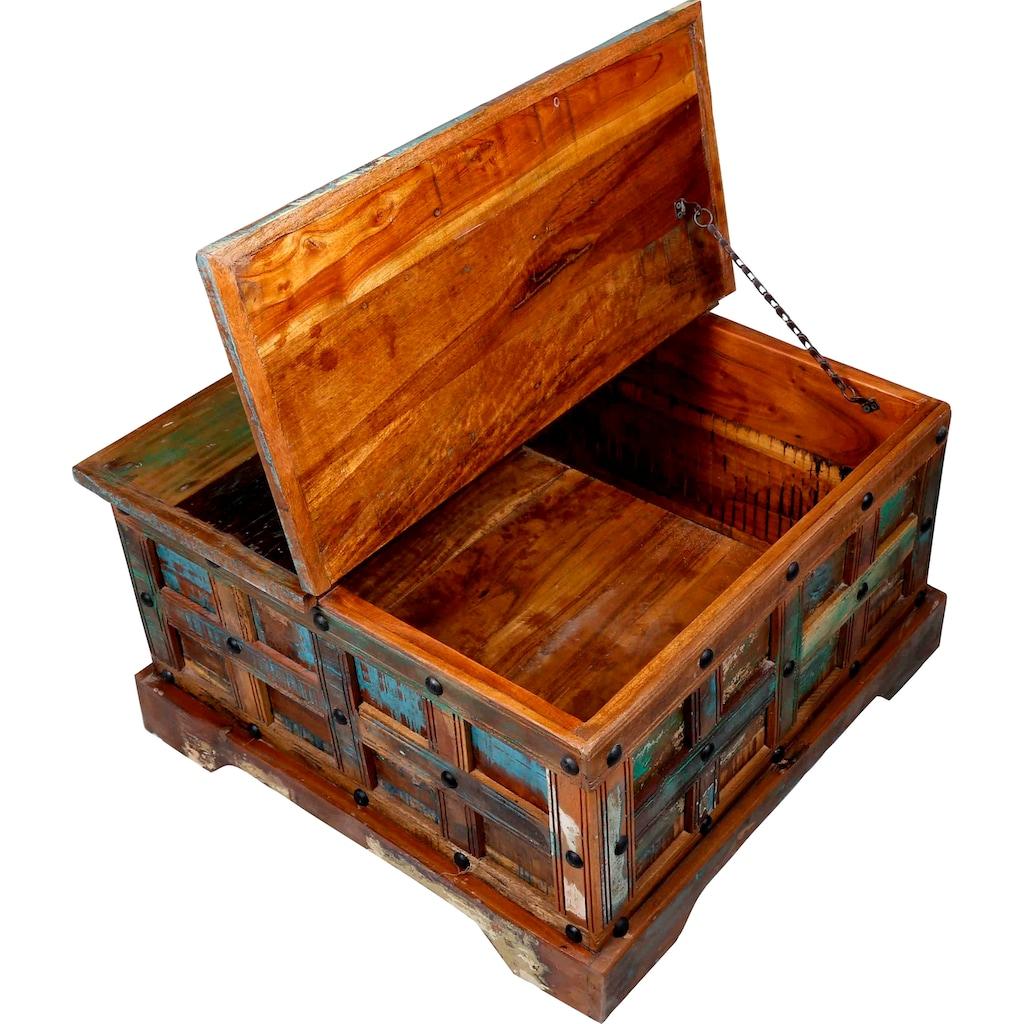 Ploß Couchtisch »Jaipur«, Aus recyceltem Altholz mit Farbresten, Shabby Chic, Vintage