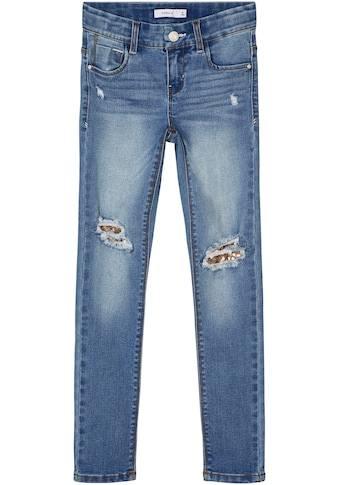 Name It Stretch-Jeans »NKFPOLLY«, mit Pailletten unterlegte Löcher kaufen