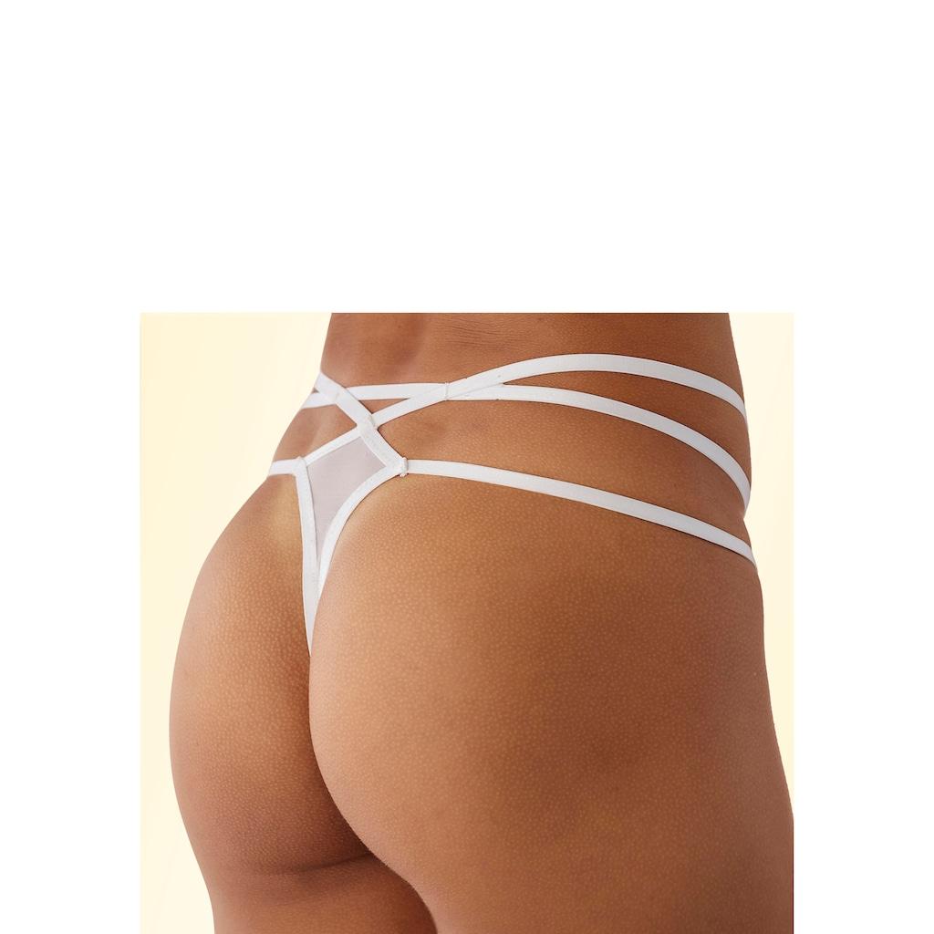 LASCANA String, aus Spitze, mit sexy Bänderoptik