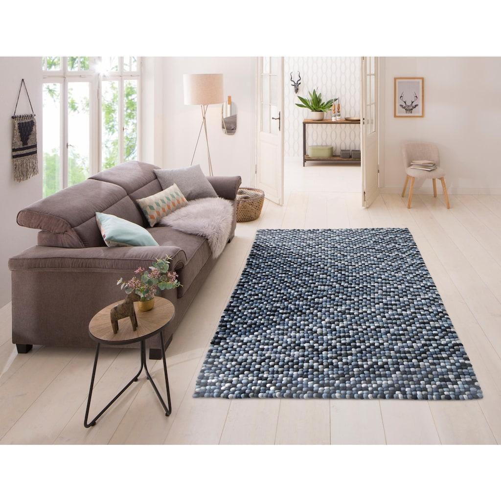 Home affaire Wollteppich »Maja«, rechteckig, 22 mm Höhe, reine Wolle, Filzkugel-Teppich, Wohnzimmer
