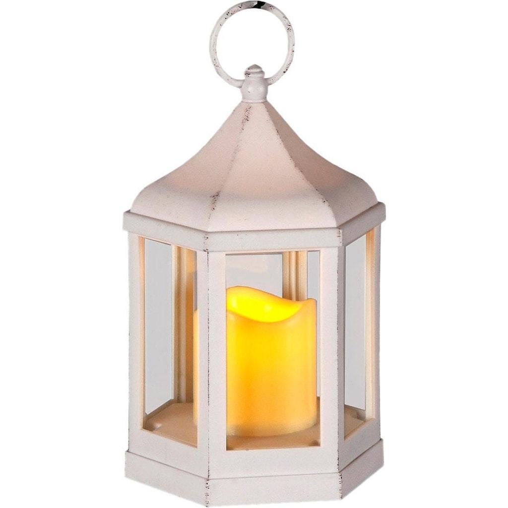 Home affaire Laterne, 6-eckig, inkl. LED-Kerze, antikweiß