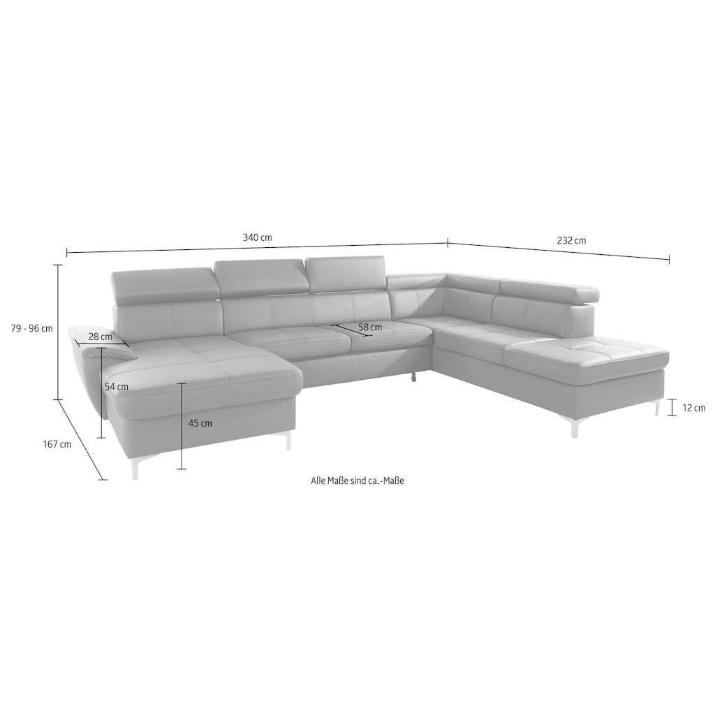 exxpo - sofa fashion Wohnlandschaft, wahlweise mit Bettfunktion