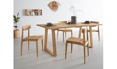 OTTO products 4-Fußstuhl »Veikko«, im 2er-Set, vegan, mit pflanzlichem Bio Öl behandelt, Massivholz Eiche, stapelbar kaufen