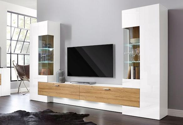 Weiße Wohnwand mit Holzschubladen und zwei Vitrinen