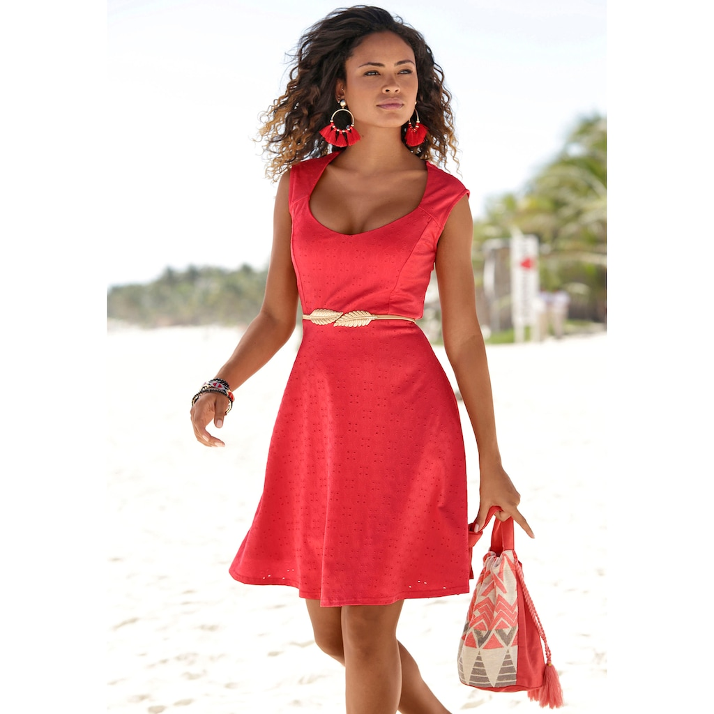 Beachtime Sommerkleid, mit Lochstickerei