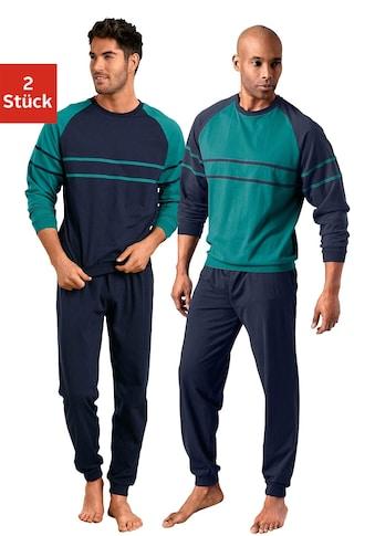 le jogger® Pyjama, (2 Stück), in langer Form mit aufgesetzten Streifen kaufen