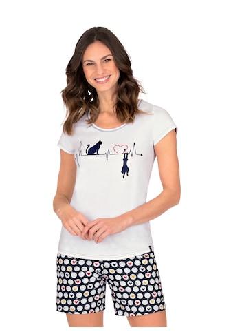Trigema Schlafanzug, mit Katzen- und Herzmotiv kaufen