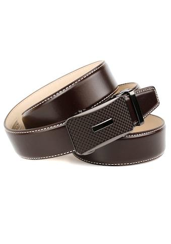Anthoni Crown Ledergürtel, mit Karbon-Schließe und Kontrast-Stitching kaufen