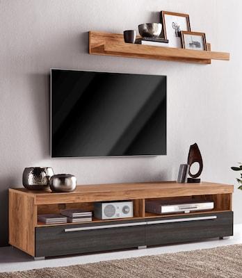 TV-Lowboard in Holzoptik mit grauen Schubladen