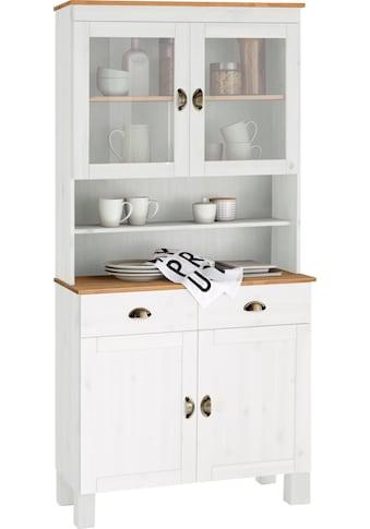 Home affaire Küchenbuffet »Oslo«, 85 cm breit, aus massiver Kiefer, mit 2 Glastüren,... kaufen