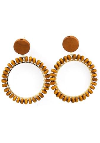 J.Jayz Paar Ohrstecker »trendstark, in runder Form«, mit Holzperlen kaufen