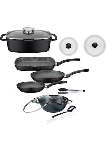 GSW Topf-Set »Gourmet«, Aluminiumguss, (Set, 8 tlg., (3-tlg. Pfannen-Set, 2 Glasdeckel, 1 Bräter, 1 Wok, 1 Küchenzange)) kaufen