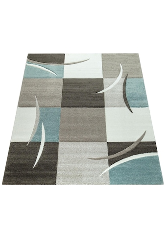 Paco Home Teppich »Lara 235«, rechteckig, 18 mm Höhe, karierter Kurzflor in schönen Pastell-Farben, Wohnzimmer kaufen