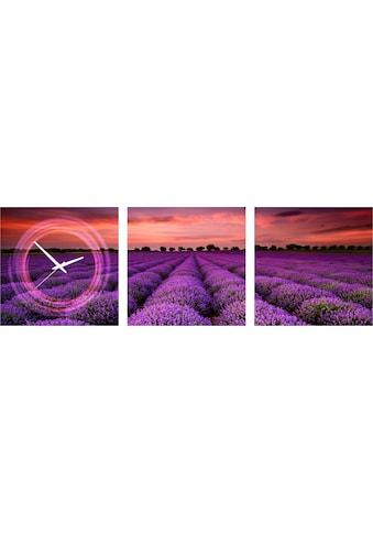 Conni Oberkircher´s Bild »Purple«, Natur, (Set), mit dekorativer Uhr kaufen
