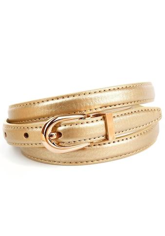 Anthoni Crown Ledergürtel, in schmaler Form, glänzende goldfarbene Oberfläche kaufen
