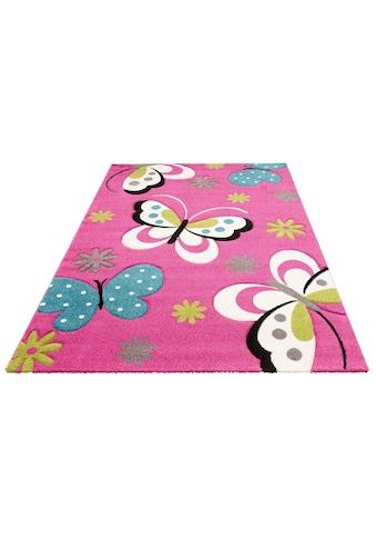merinos Kinderteppich »GARTEMPE«, rechteckig, 13 mm Höhe, Schmetterlinge, handgearbeiteter Konturenschnitt kaufen