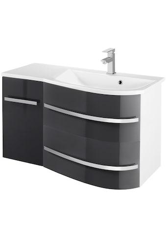 welltime Waschtisch »OSLO«, Breite 90 cm, Badmöbel mit geschwungener Front, Ablage links kaufen