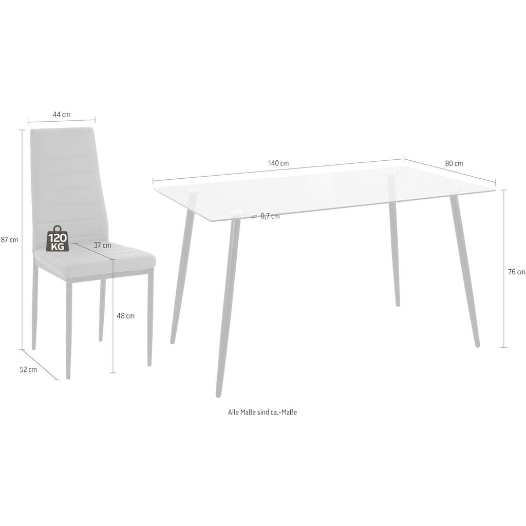 my home Essgruppe »Danny + Sandy«, (Set, 5 tlg.), Glastisch, Breite 140 cm und 4 Esszimmerstühlen, Bezug aus Kunstleder