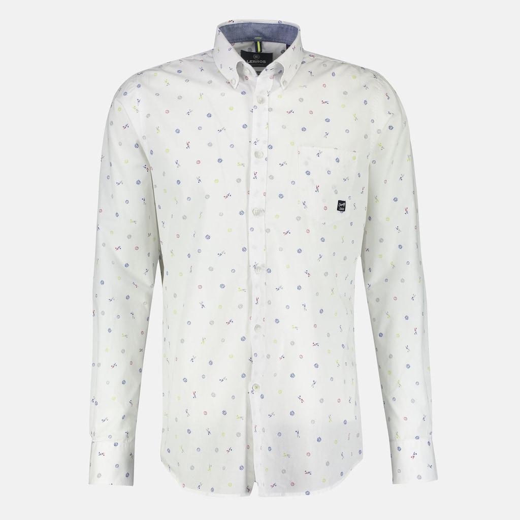 LERROS Langarmhemd, mit Alloverprint und Button-Down-Kragen