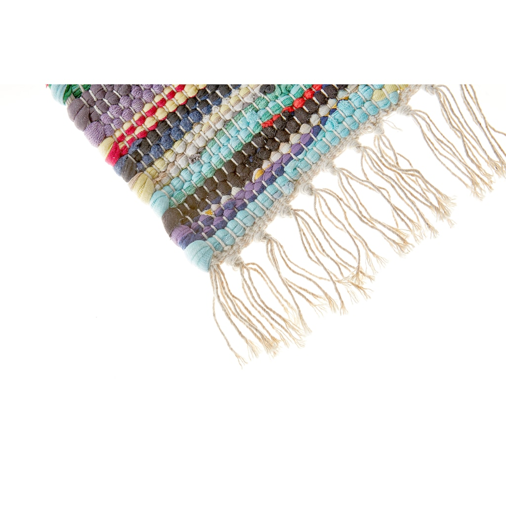 Andiamo Läufer »Multi«, rechteckig, 10 mm Höhe, Teppich-Läufer, Flachgewebe, Flickenläufer, reine Baumwolle, handgewebt, mit Fransen