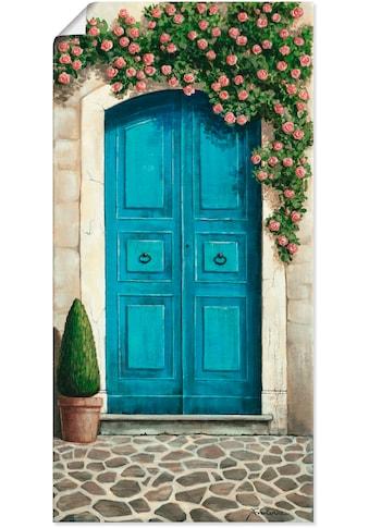Artland Wandbild »Blaue Tür mit Kletterrosen«, Fenster & Türen, (1 St.), in vielen... kaufen