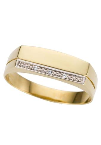 Firetti Goldring »Siegelring,bicolor, glanz, rhodinierte Fassung, massiv, Längsfuge«,... kaufen