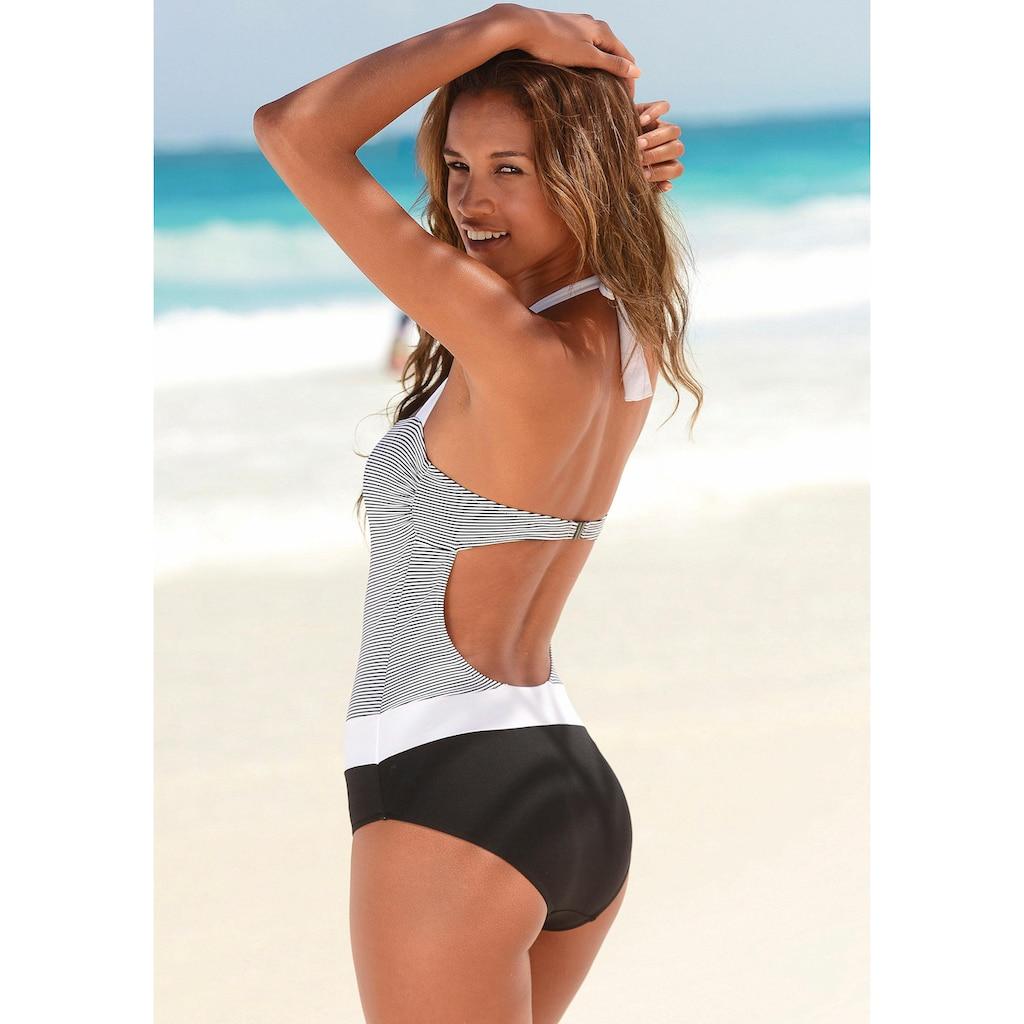 LASCANA Badeanzug, mit filigranen Streifen