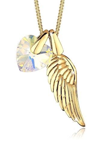 Elli Collierkettchen »Flügel Herz Kristalle 925 Silber Cuore« kaufen