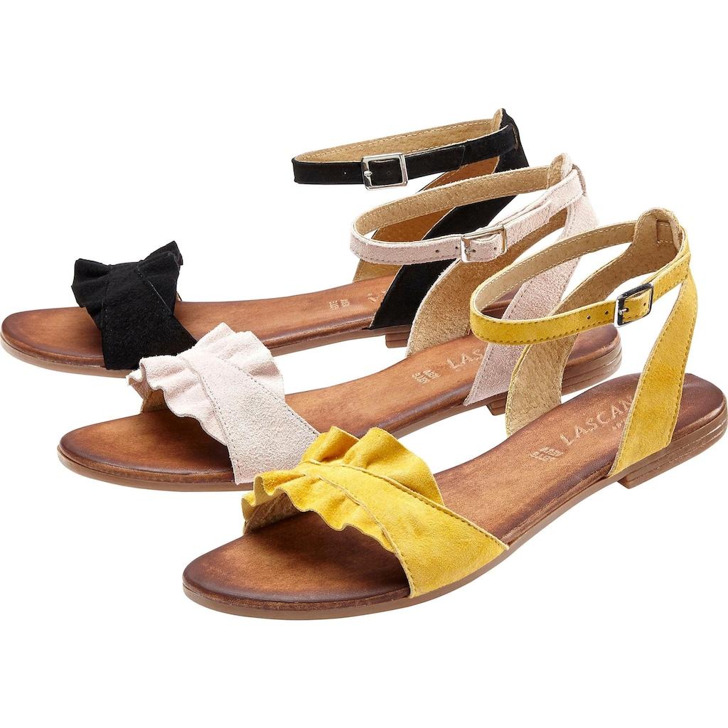 LASCANA Sandale, aus hochwertigem Leder mit kleinen Rüschen