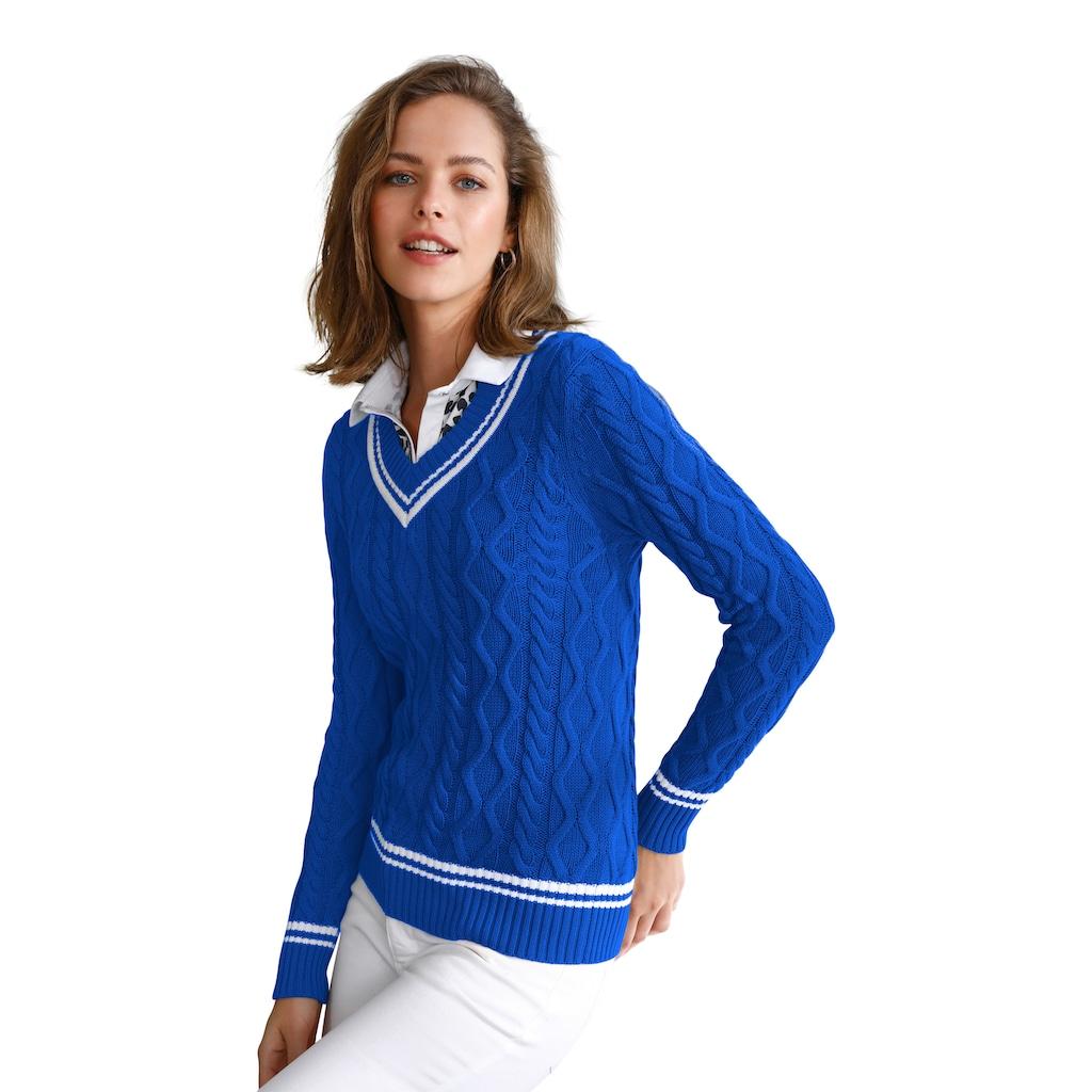 Looxent V-Ausschnitt-Pullover »im jungen College-Style«, mit Streifen